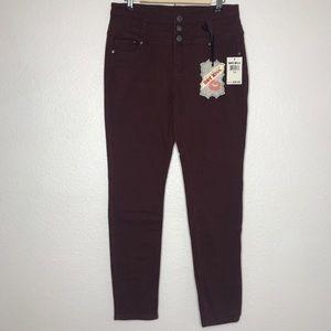 Hot Kiss Womens Juniors Jeans Sz 13 Skinny Maroon